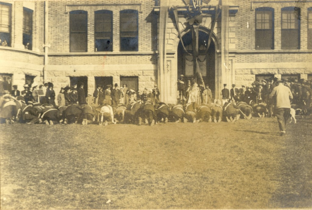 1909 Faculty Bowing to St. Patrick at Norwood Hall