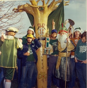 1977 Group Photo of St. Pat with Sigma Tau Gamma's Cudgel