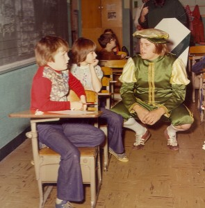 1977 Page conversing with child in the Classroom