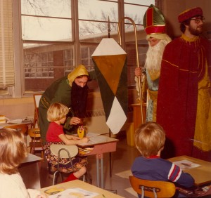 1980 St. Pat and his Court greeting the children