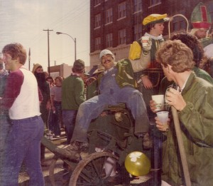1980 St. Pat and his Court riding in the Parade