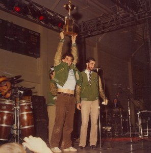 1981 St. Pats Board Representative receiving Trophie