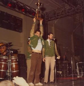 1981 St. Pats Board Representative receiving Trophie