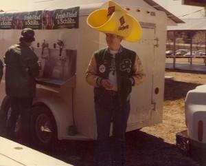 1981 St. Pats Board Representative with Foam Cowboy Hat