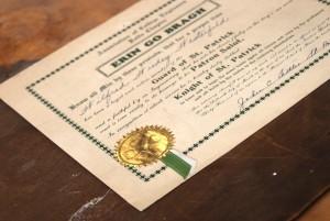 2002 St. Pats Certificate Erin Go Bragh