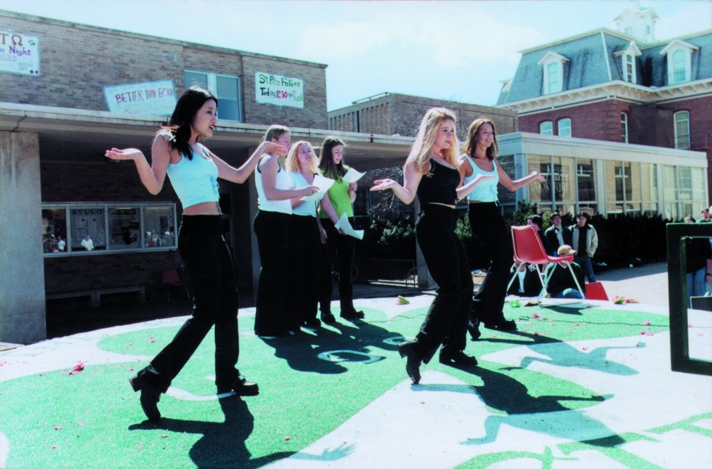 "Dancing on ""the Puck"" during St. Pat's festivities."