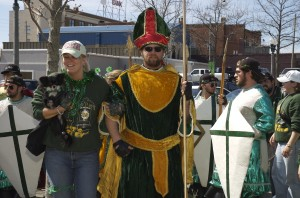 2006 Photo of St. Pat with member of Lambda Sigma Pi