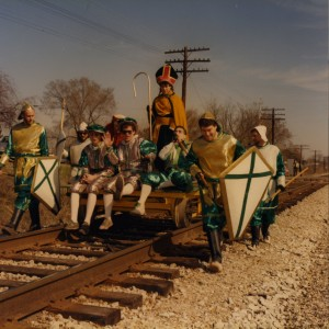 St. Pat and his Court arriving on the Railcart