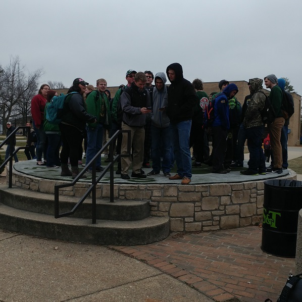 St. Pats Reps and Members of Other Organizations Prepare to Sing the Daze Song at Noon